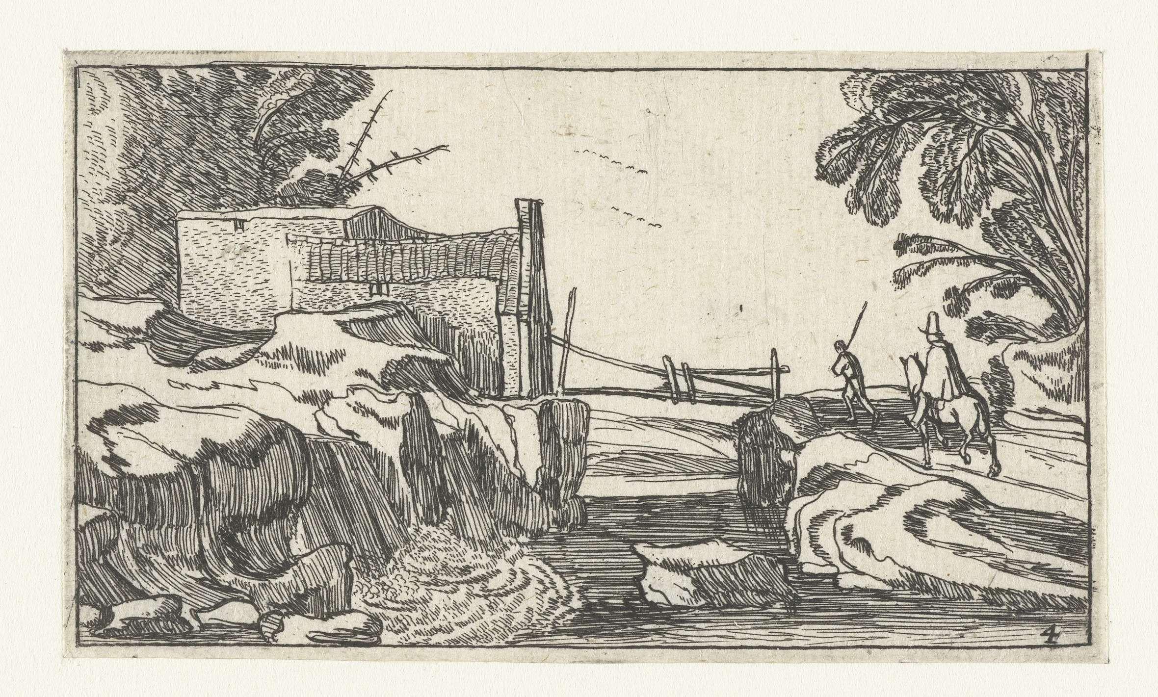 Esaias van de Velde | Pad langs een waterval, Esaias van de Velde, Anonymous, Claes Jansz. Visscher (II), 1610 - 1617 |