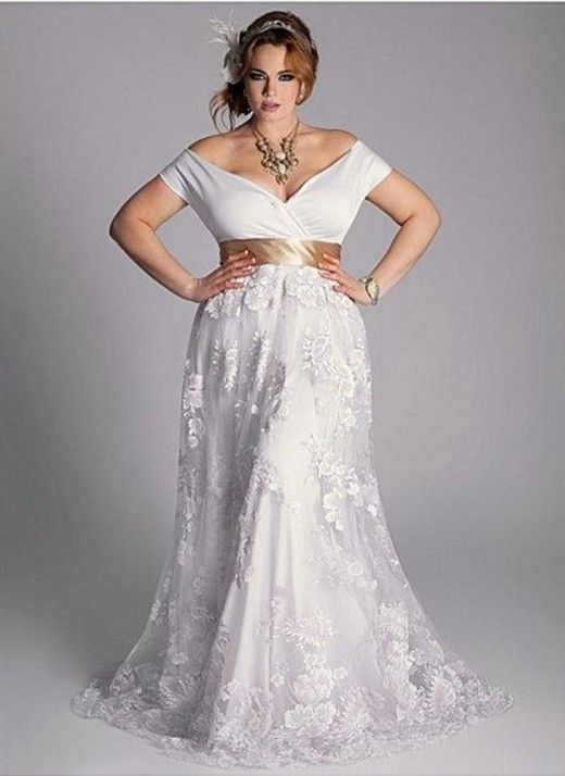 Beautiful Plus Size White, Gold Dress | Plus size wedding ...
