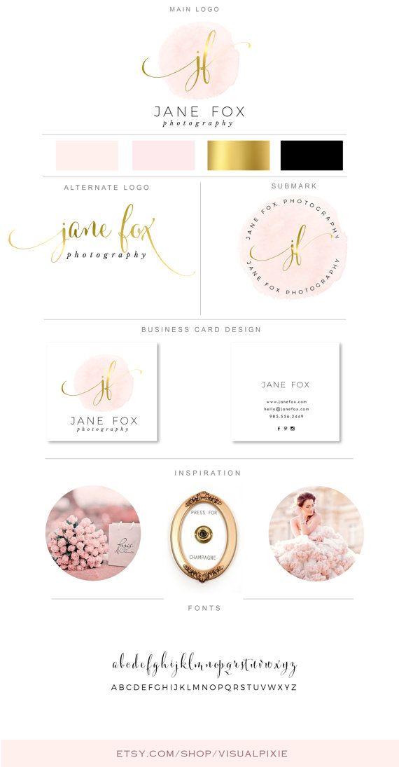 PREMIUM Branding Package Logos Business Card Design Gold Pink Watercolor Calligraphy Photography Logo Salon Event Planner Makeup Artist