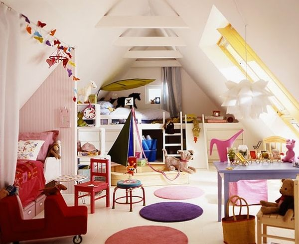 Attic Bedroom For Kids With Creative Decoration Colorful Kids