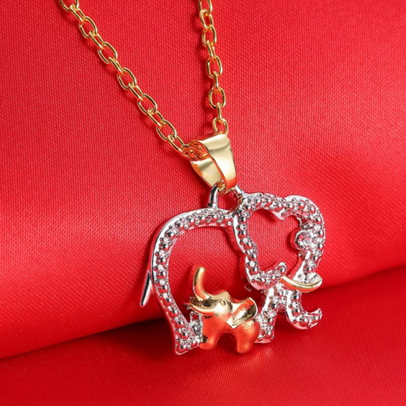 Crystal Elephant Animal Pendant Necklace Long Chain Jewelry Mother/'s Day Gift