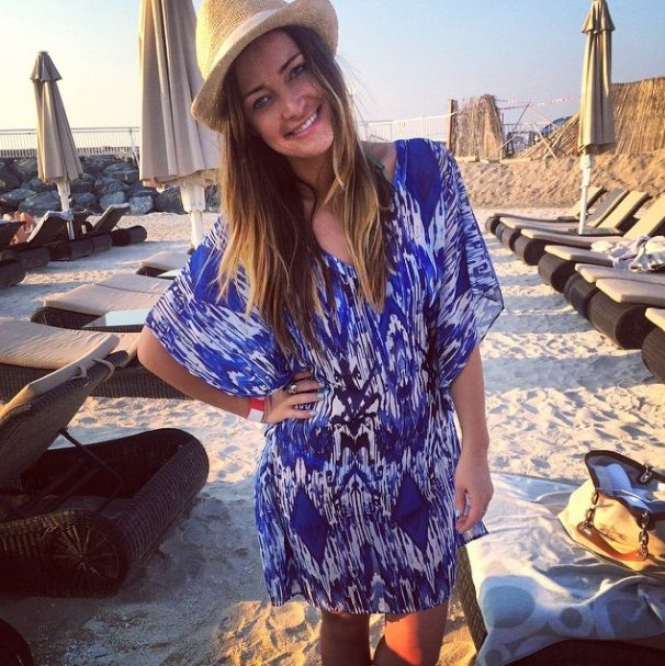 Fran Newman-Young of Made in Chelsea, looking gorgeous on holiday in our Little Dix Bay kaftan and Fedora hat