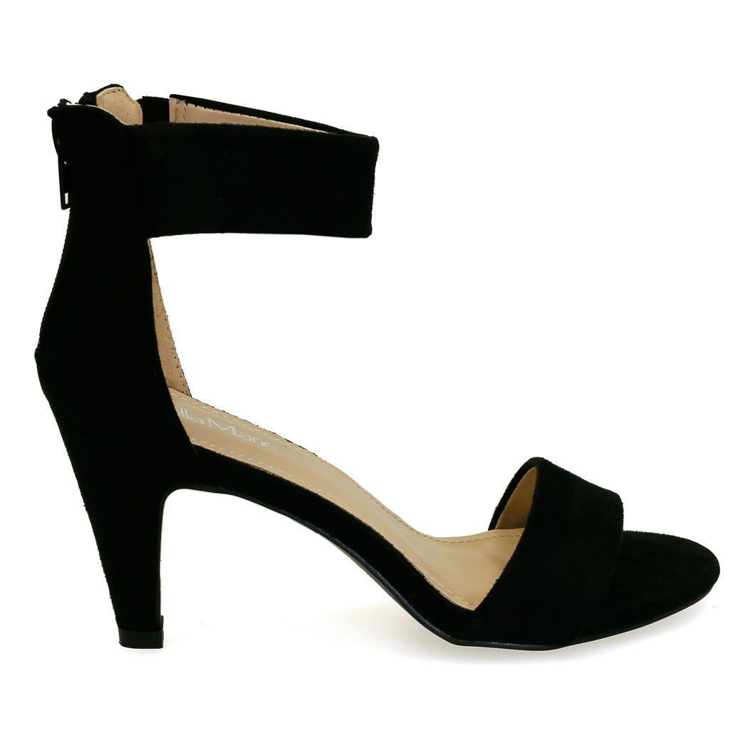 011f47f1560 Elysa-1 Black Thick Ankle Strap Kitten Heels