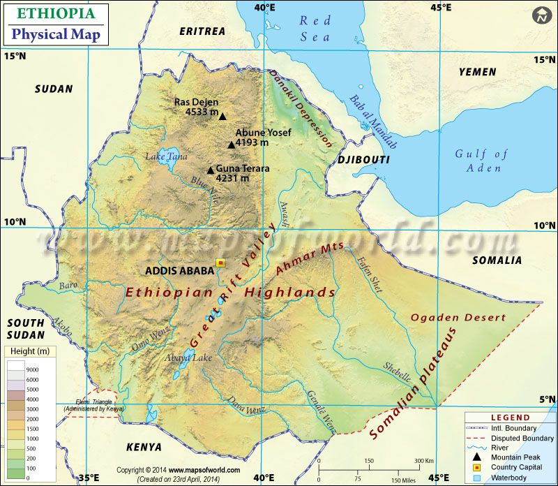 Physical Map of Ethiopia ethiopia Pinterest Ethiopia and Sea level