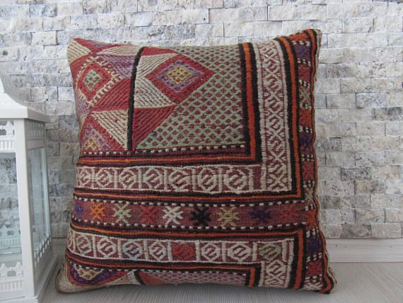 natural dyed red colored wool kilim pillow 16x16 cushion   16 x16 ...