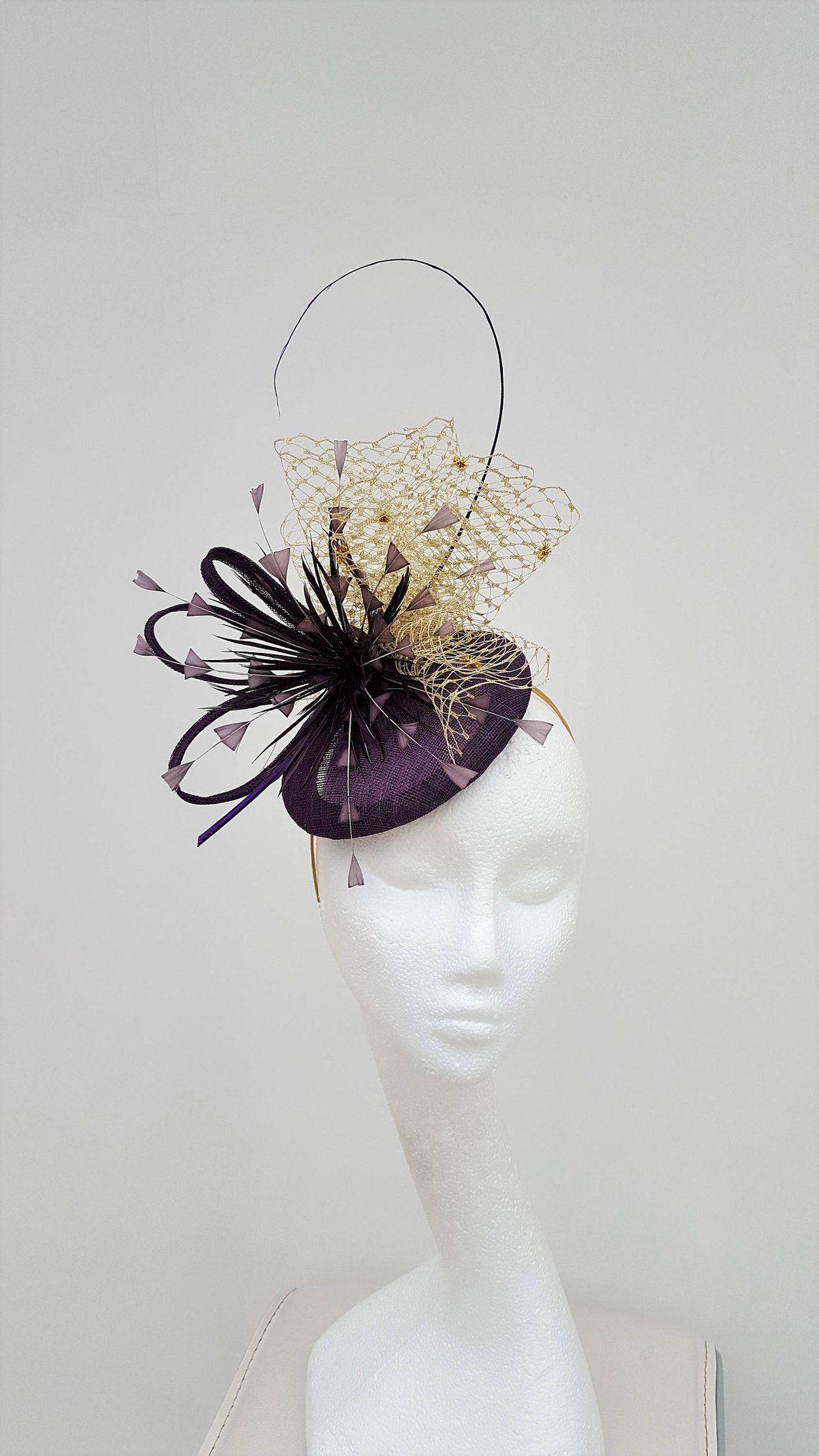 07b9cad63ae2b Plum Fascinator Gold Hatinator Wedding Hat Mother of the   Etsy ...