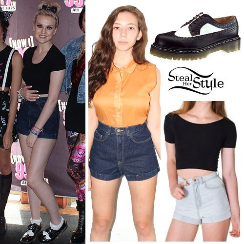 Today at NOW 99.7FM, Perrie wore an American Apparel Cotton Spandex Jersey Crop Tee ($30.00), teamed with American Apparel Dark Wash High-Waist Jean Cuff Shorts ($58.00). She posted a picture of her shoes on instagram, saying they were vintage, but you can get very similar shoes from Dr. Martens ($120.00).