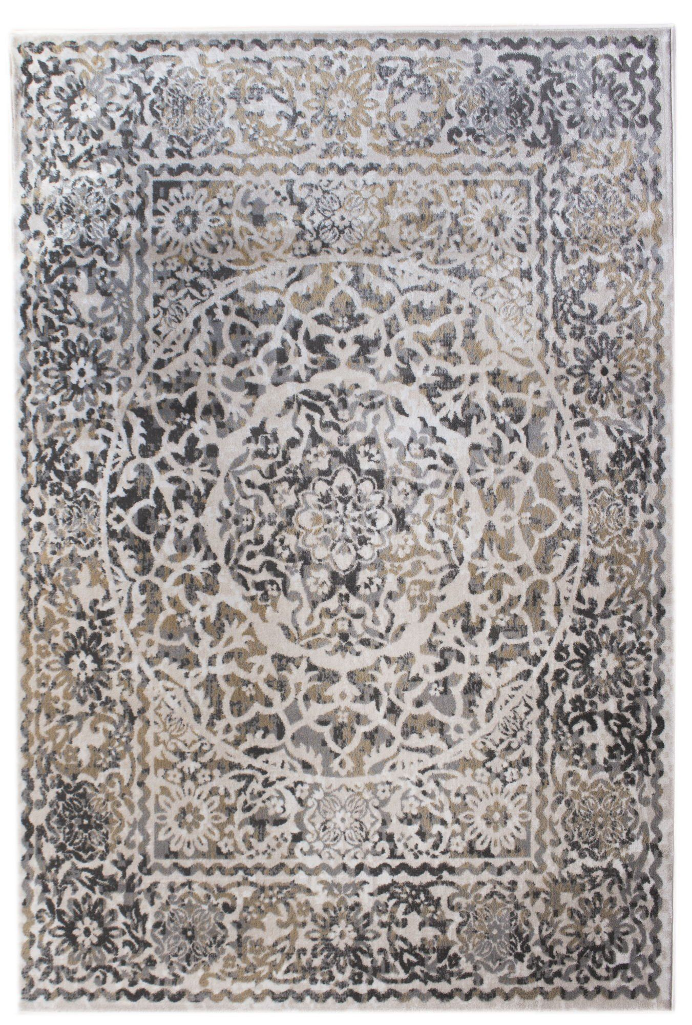 Transitonal Neutral Vintage Distressed Border Rugs 2x8 Runner Trendy Carpet 2 Feet 7