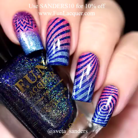 Easy glitter nail design combined with stripe stamps