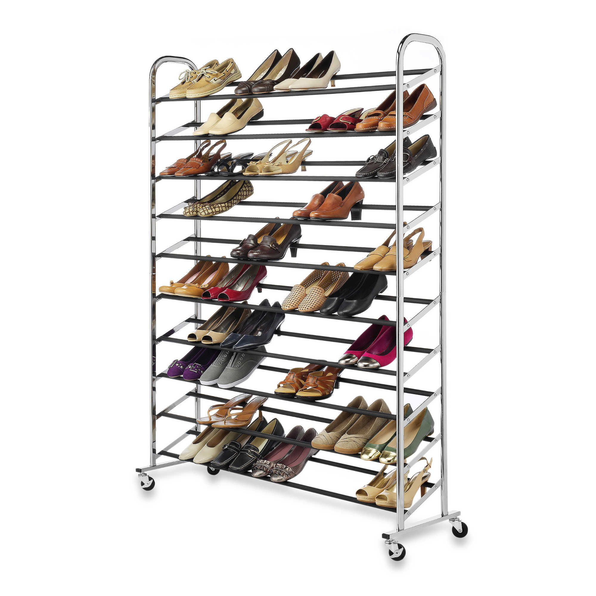 now you can keep all of your shoes neatly and securely organized with the rolling shoe rack this terrific durable chromed shoe tower will hold up to 60