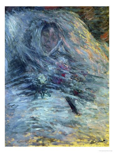 Camille em seu leito de morte-Monet-1879. This painting was painted just after Camille which is Monet's wife died.