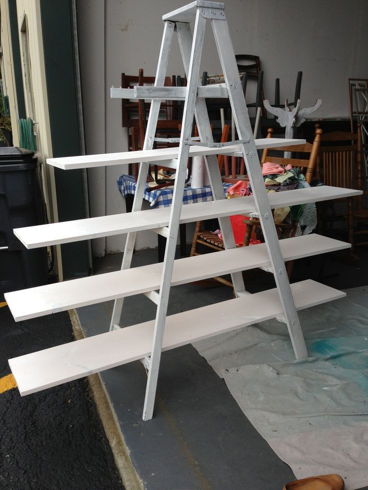 Make Your Own Ladder Shelf For Craft Show Display