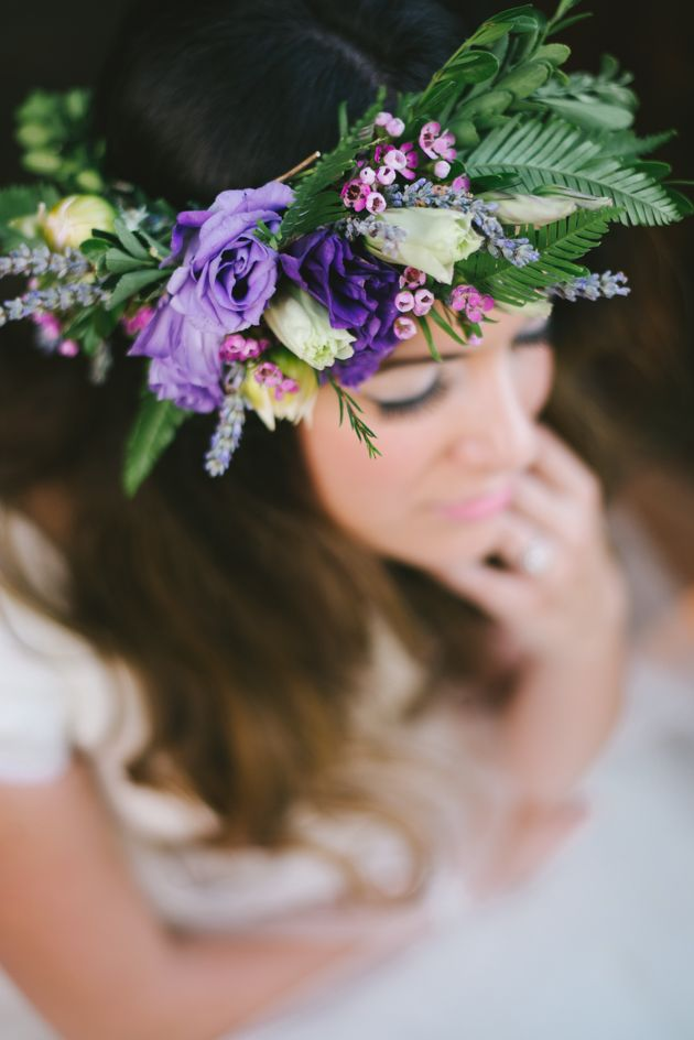 Dreamy Garden Bridal Shoot Flower Crown Bride Purple Wedding