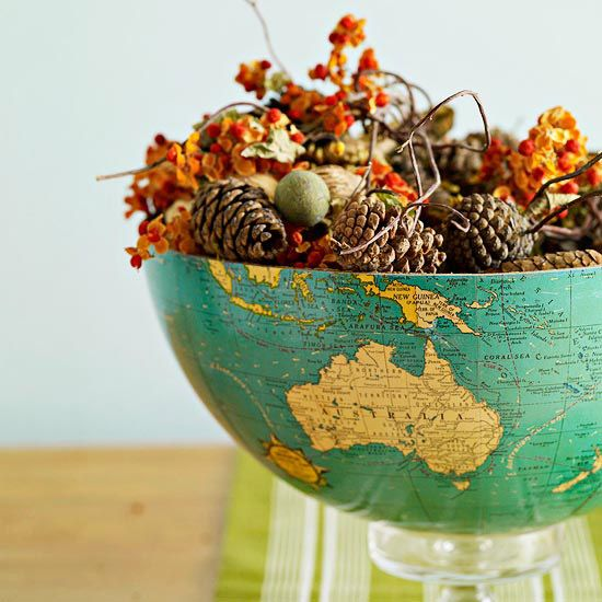 Eclectic Bowl Centerpiece- I would use the globe bowl all year. Love it.