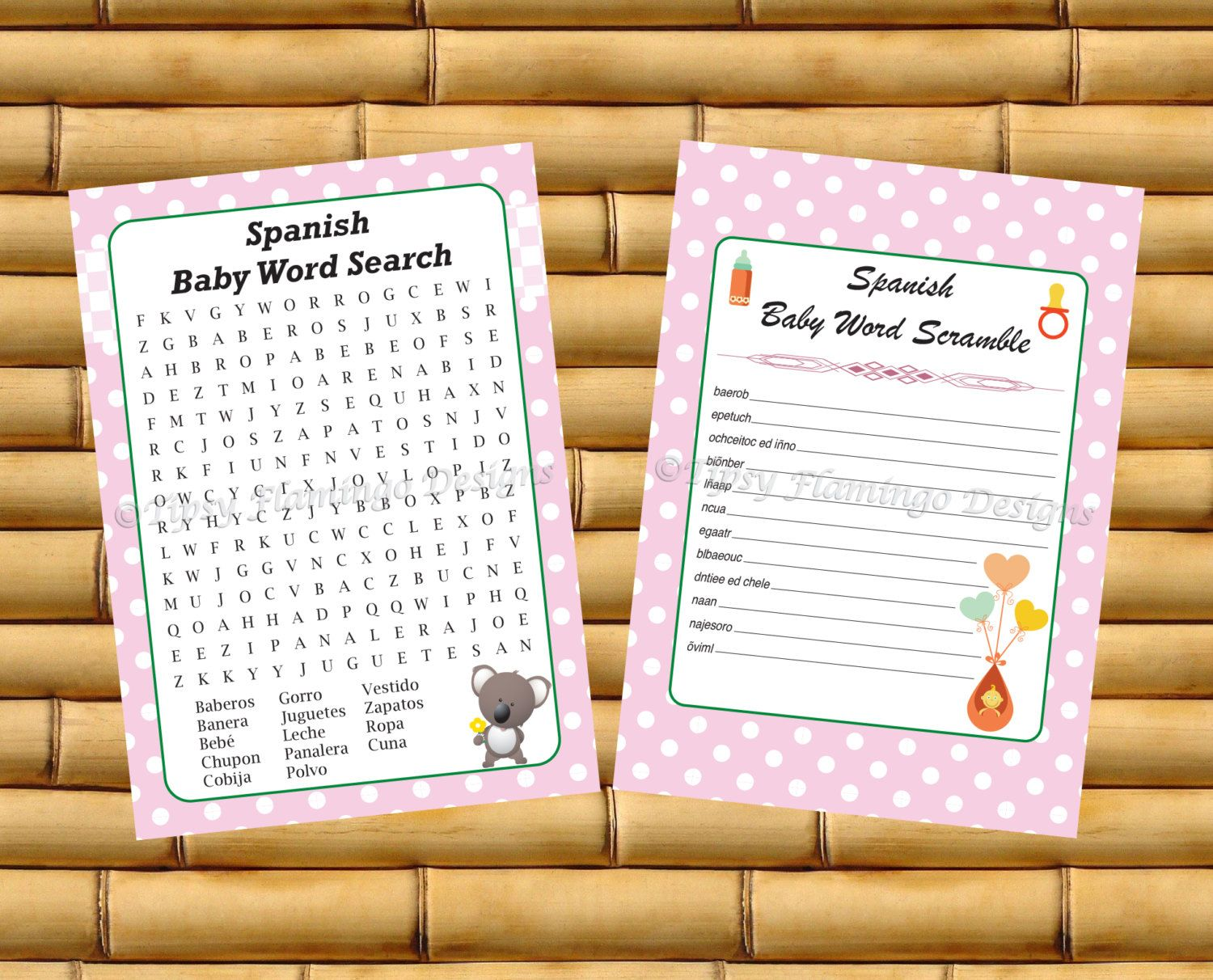 spanish words forward two pack unique spanish baby shower game word