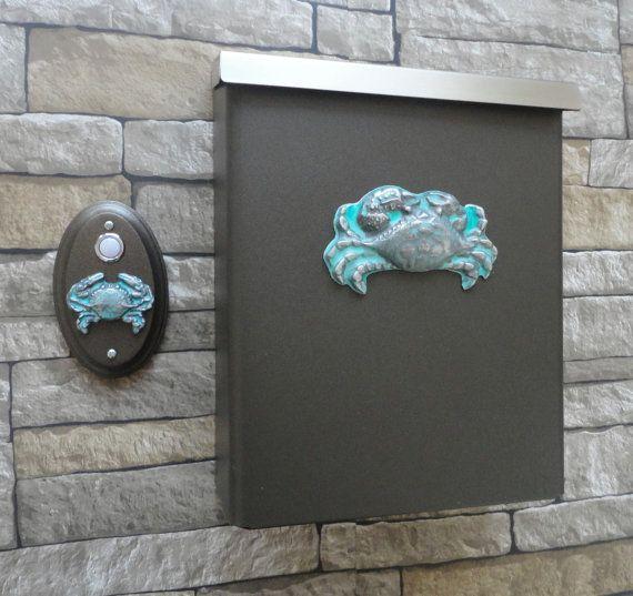 Sea Crab Mailbox Beach Cottage Doorbell Wall Mount