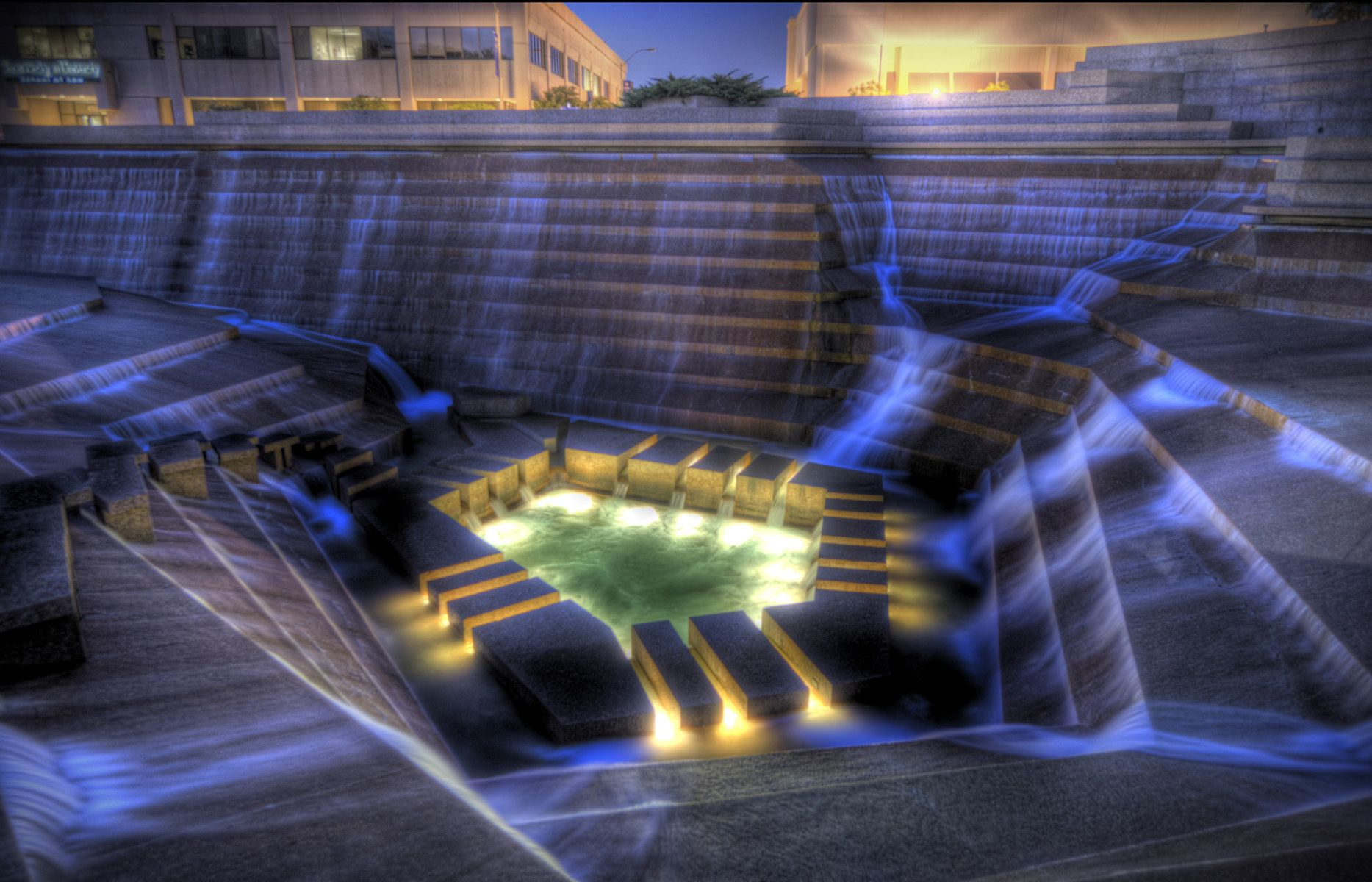 Fort Worth Water Gardens at night If you're looking for