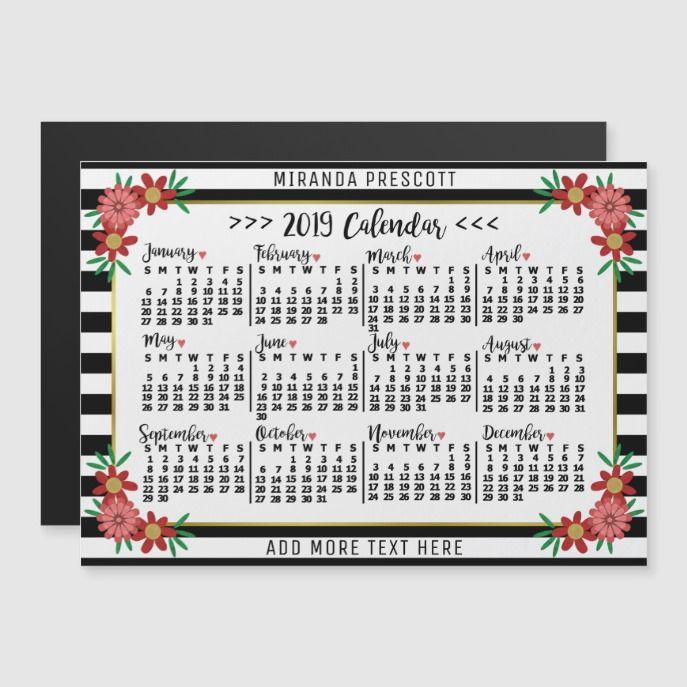 2019 Year Calendar Preppy Floral Stripes Custom Pinterest