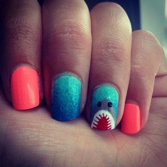 55 Killer Shark Nail Designs Pinterest Shark Makeup And Nail Nail