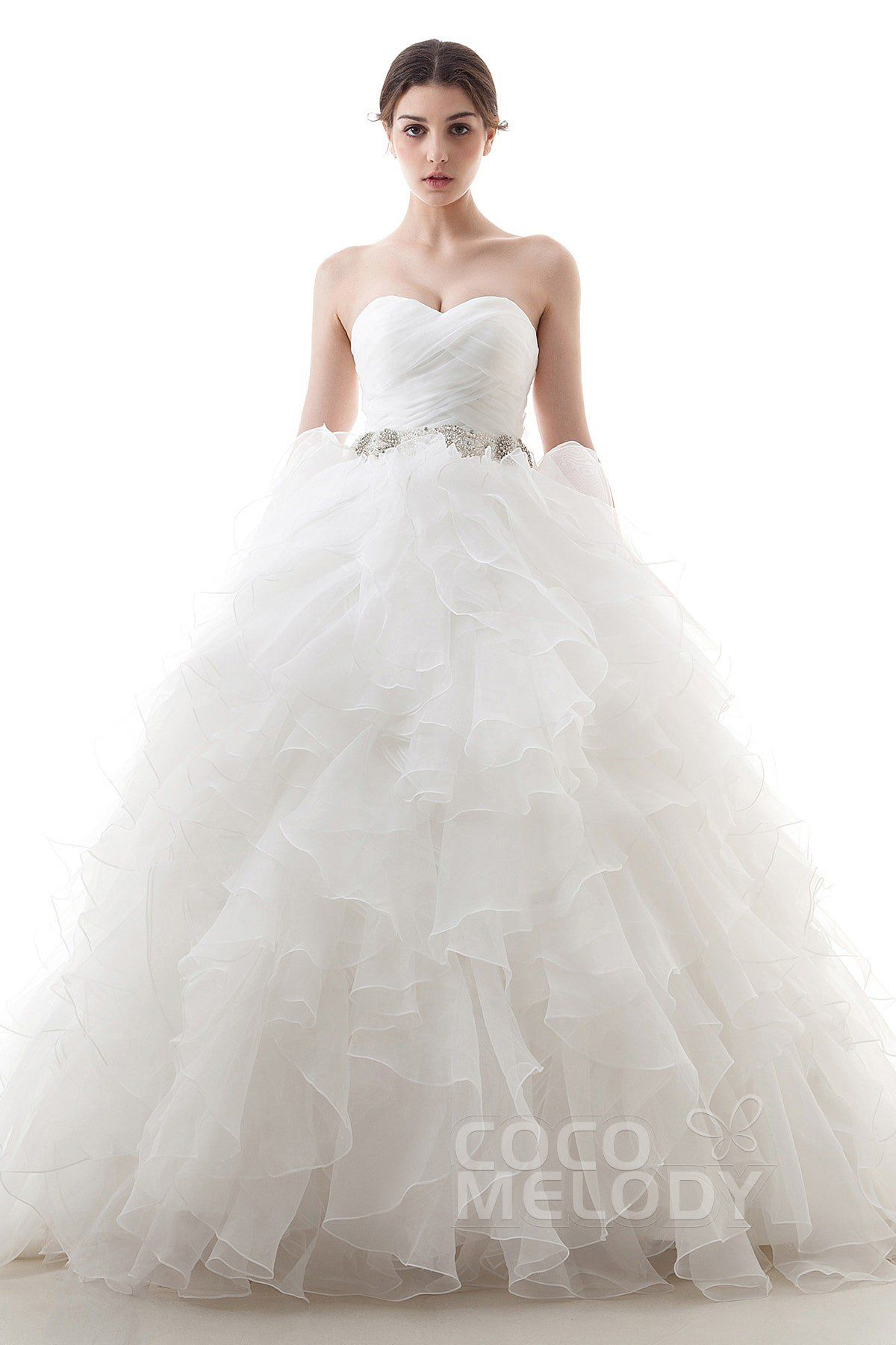 Dramatic Ball Gown Sweetheart Train Organza Ivory Lace Up-Corset ...