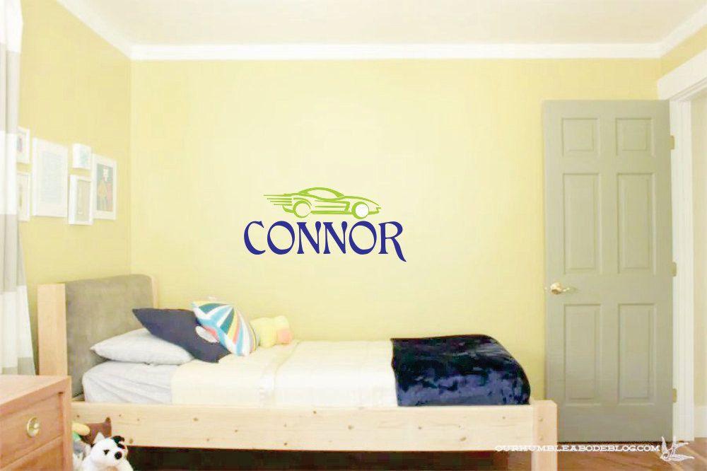 Racing Car Childrens Room Teen Room Masculine Room Boy Bedroom Decal ...