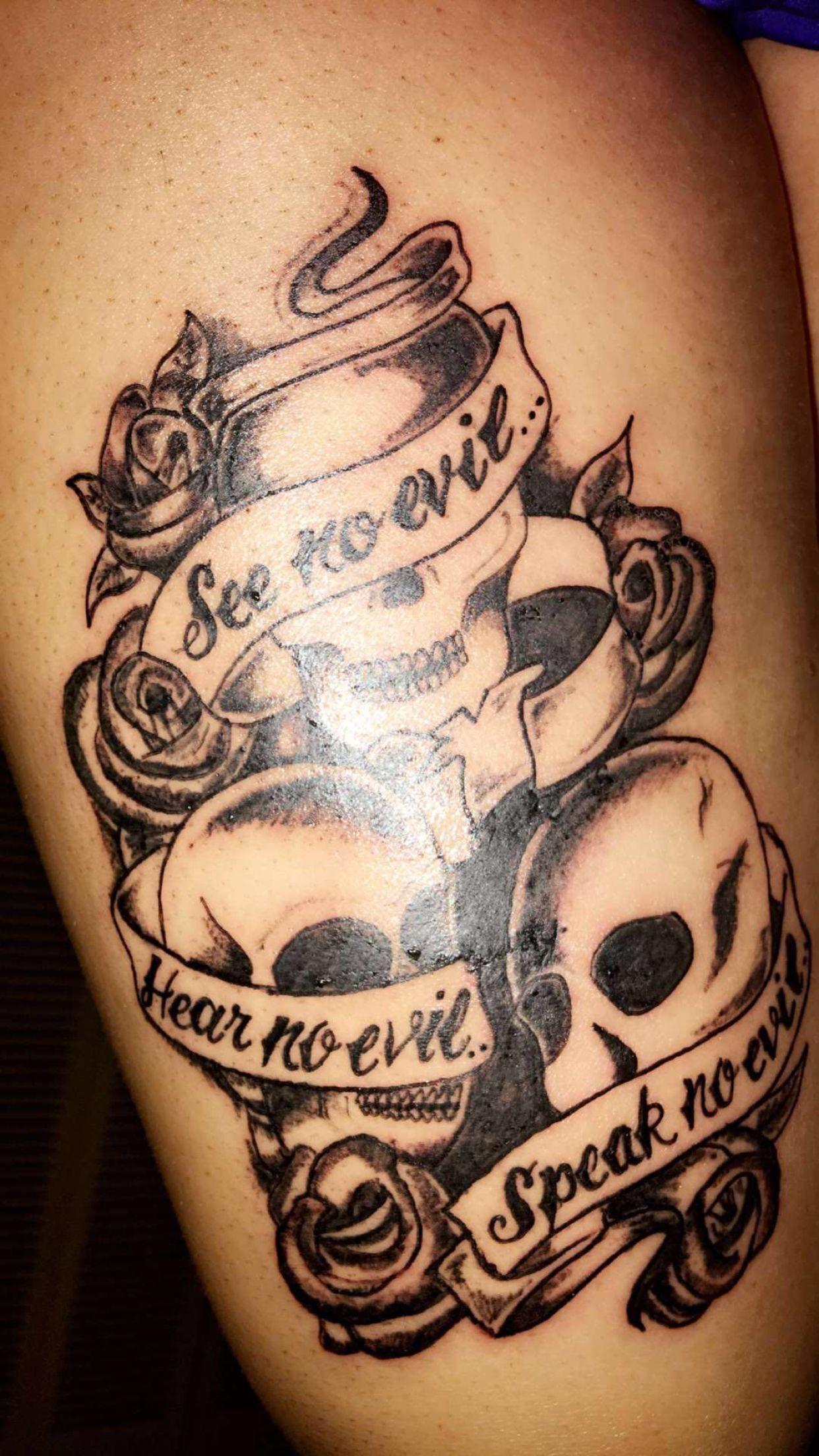 See No Evil Hear No Evil Speak No Evil Pin On Skull Hand Tattoo Men