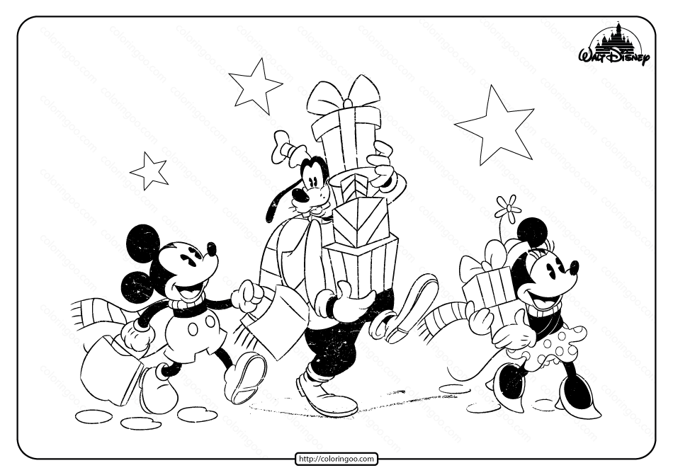 Disney Mickey Minnie and Goofy Pdf Coloring Page in 2020