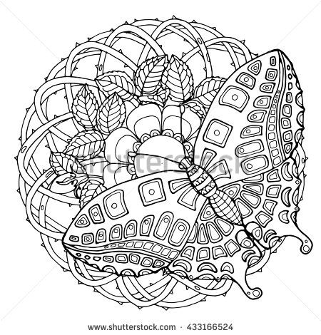 Flower Abstract Coloring Pages : Zentangle butterfly on wilde rose brier flower mandala page for