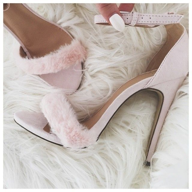 Faux #Fur Heeled Sandals