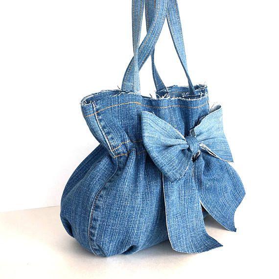Recycled Denim Tote Denim Bows
