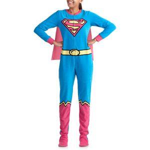 Walmart...Juniors Supergirl One-Piece Footie Pajama With Cape. LOL ...