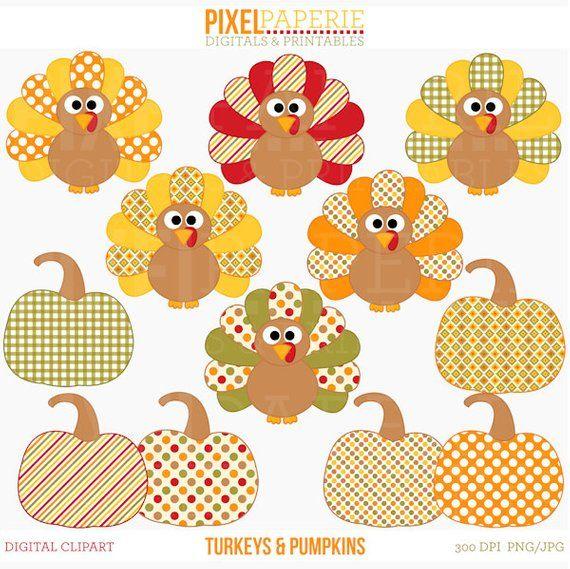 Thanksgiving clipart turkey pumpkin fall  Turkeys and | Etsy