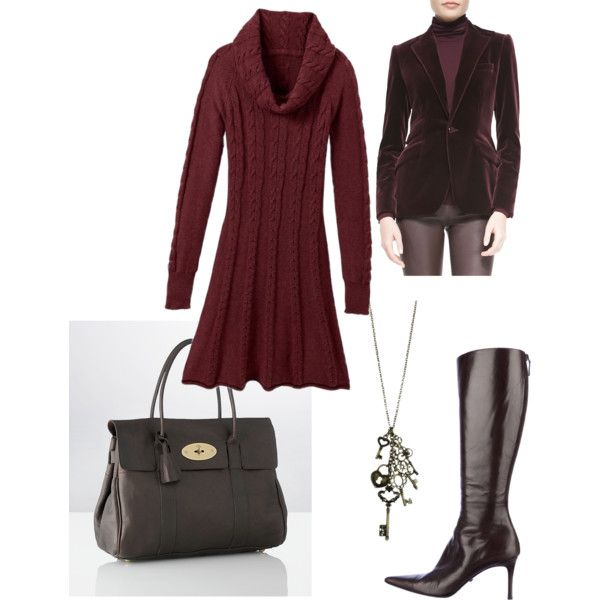 Cableknit sweater dress outfit