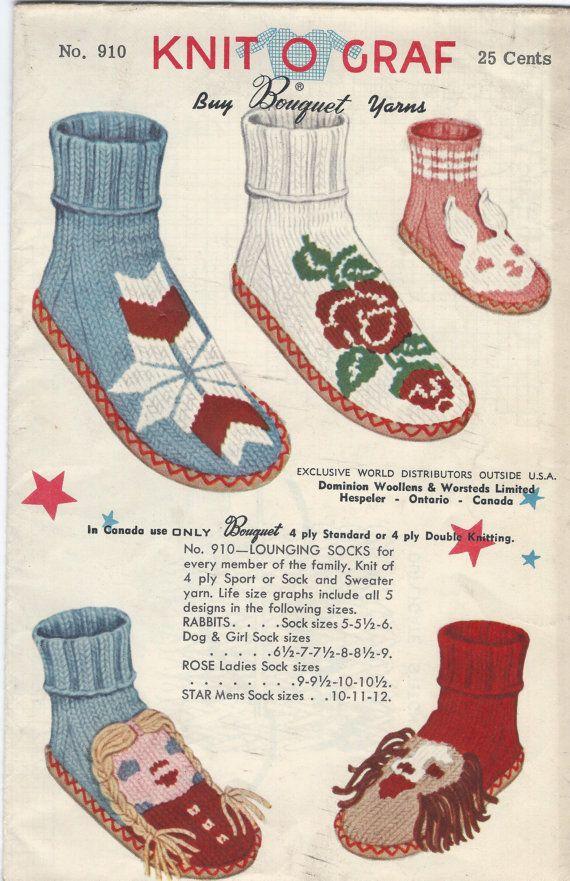 Knit O Graf Pattern 910 Lounging Socks Vintage Knit Pattern ...