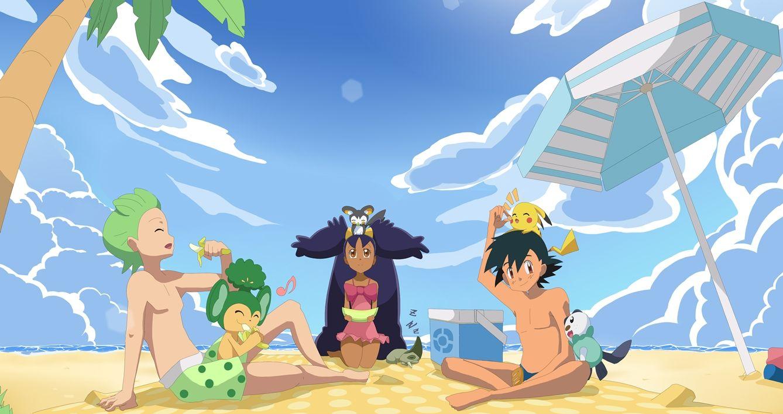 Comission-Pokemon picnic at beach by KireiameJin.deviantart.com on @deviantART