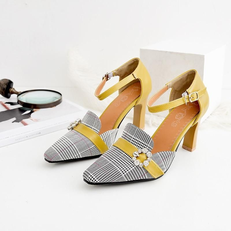 f6250c4b328 NEMAONE New plaid high heels women pumps poined toe mather shoes ...