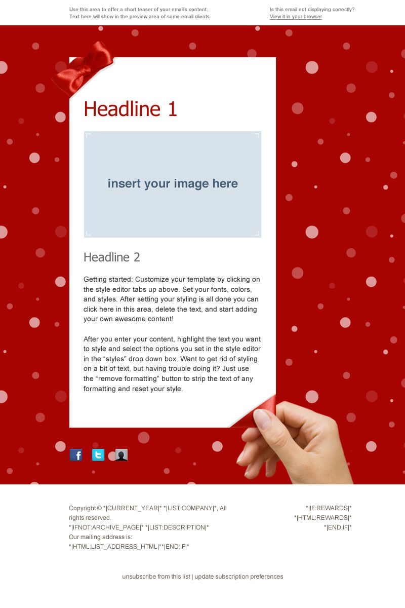 Premium Holiday Email Template For Mailchimpcom Available For Free - Free email template editor