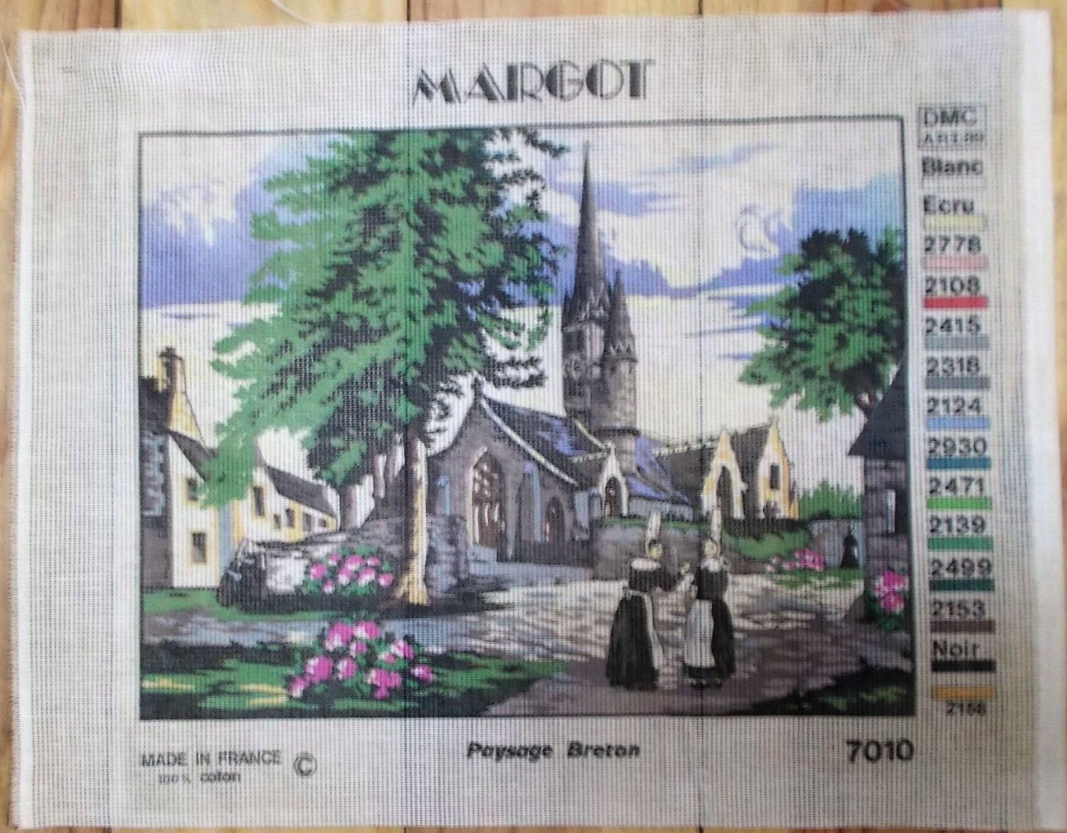 New Canvas Needlepoint Breton Scene Made In France Tapestry