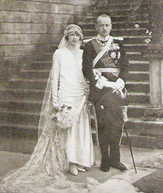 Prince Phillip with his bride, Princess Mafalda of Italy, daughter of King Victor Emanuel III and sister of Umberto II, the last king of Italy (he reigned only a month).  His marriage to Mafalda allowed Prince Phillip to act as a liason between Hitler and Mussolini.  However, Hitler always disliked Mafalda and when her father had Mussolini arrested Hitler took his anger out on the Princess, sending her to Buchenwald where she died from injuries sustained in an Allied bombing raid.
