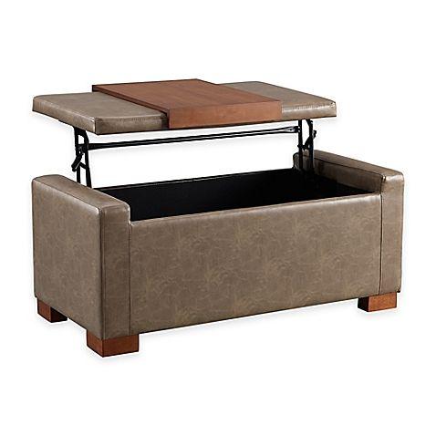 Davis Lift Top Storage Ottoman In Pebble With Images Coffee Table With Storage Storage Ottoman Chair Storage