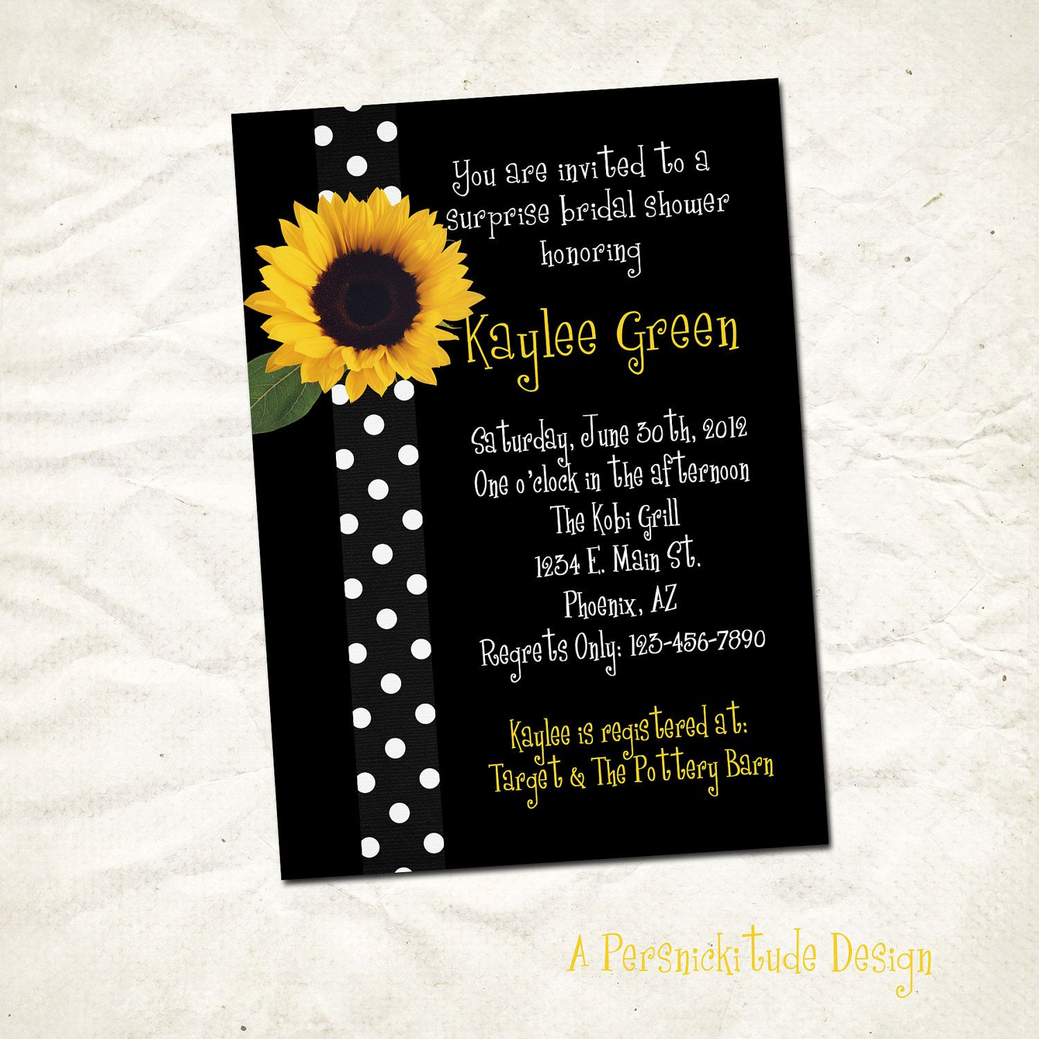 Sunflower bridal shower invitation print yourself by persnickitude ...