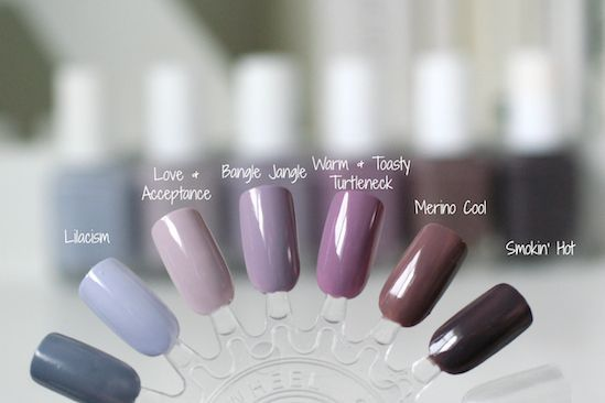 Essie Grey Purples Comparison Lilacism Love Acceptance Bangle Jangle Warm Toasty Turtleneck Merino Cool Smokin Hot
