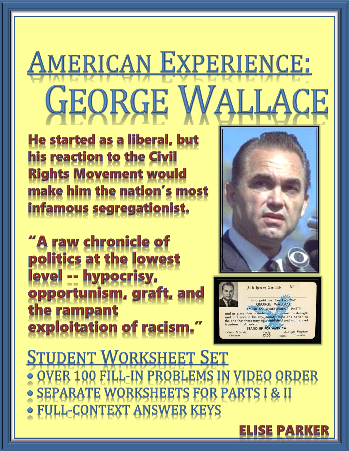 American Experience George Wallace Worksheets For Entire