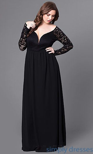 Long Black Plus-Size Prom Dress with Long Sleeves in 2019 | Me ...
