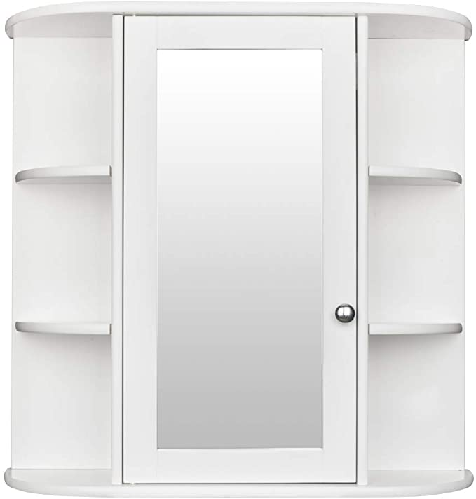 Amazon Com Bonnlo Bathroom Wall Mounted Cabinet 6 Shelvs Single Door Mirrior Ind Bathroom Floor Cabinets Bathroom Wall Cabinets Wall Mounted Bathroom Cabinets