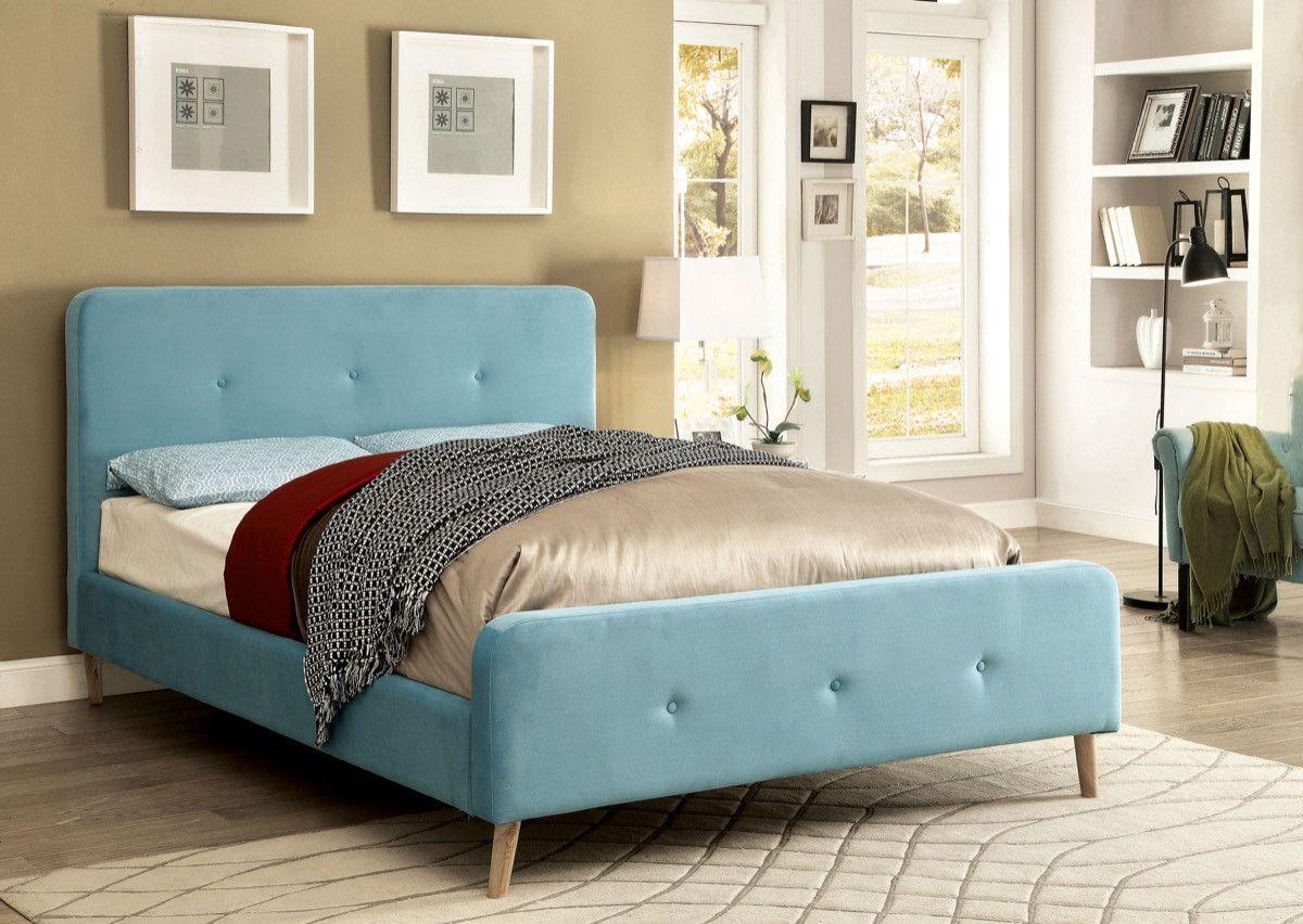 furniture of america galena full size flannelette platform bed in light blue. furniture of america galena full size flannelette platform bed in