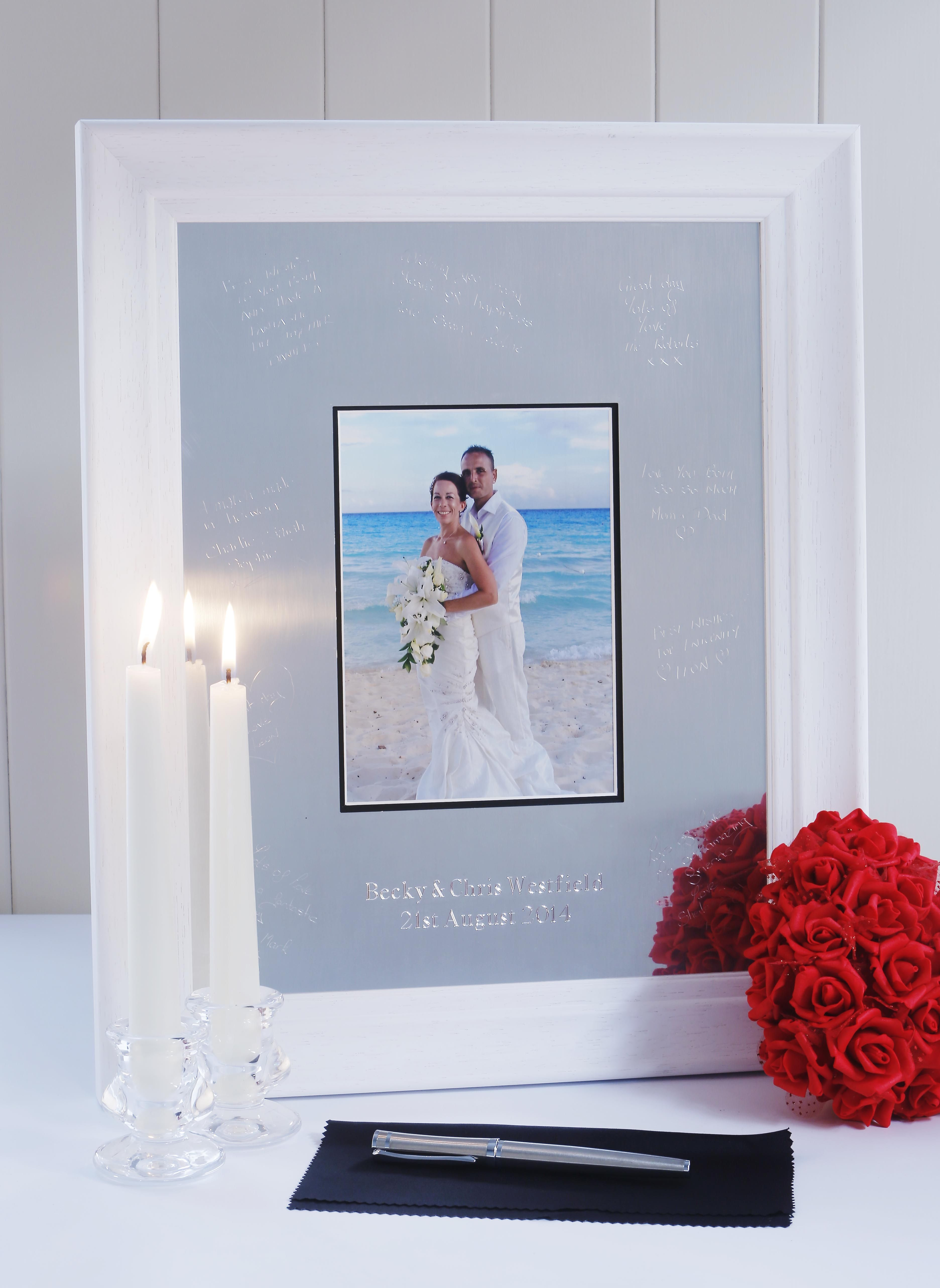 Unique And Personalised Engravable Wedding Guest Book Picture Frames