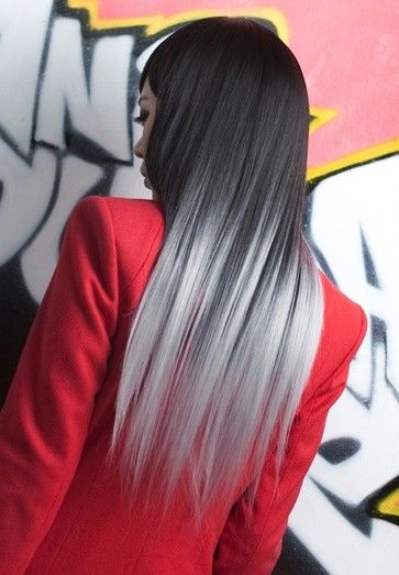 Monochromatic gradient hair color from black to white. More Hair Styles Like This!