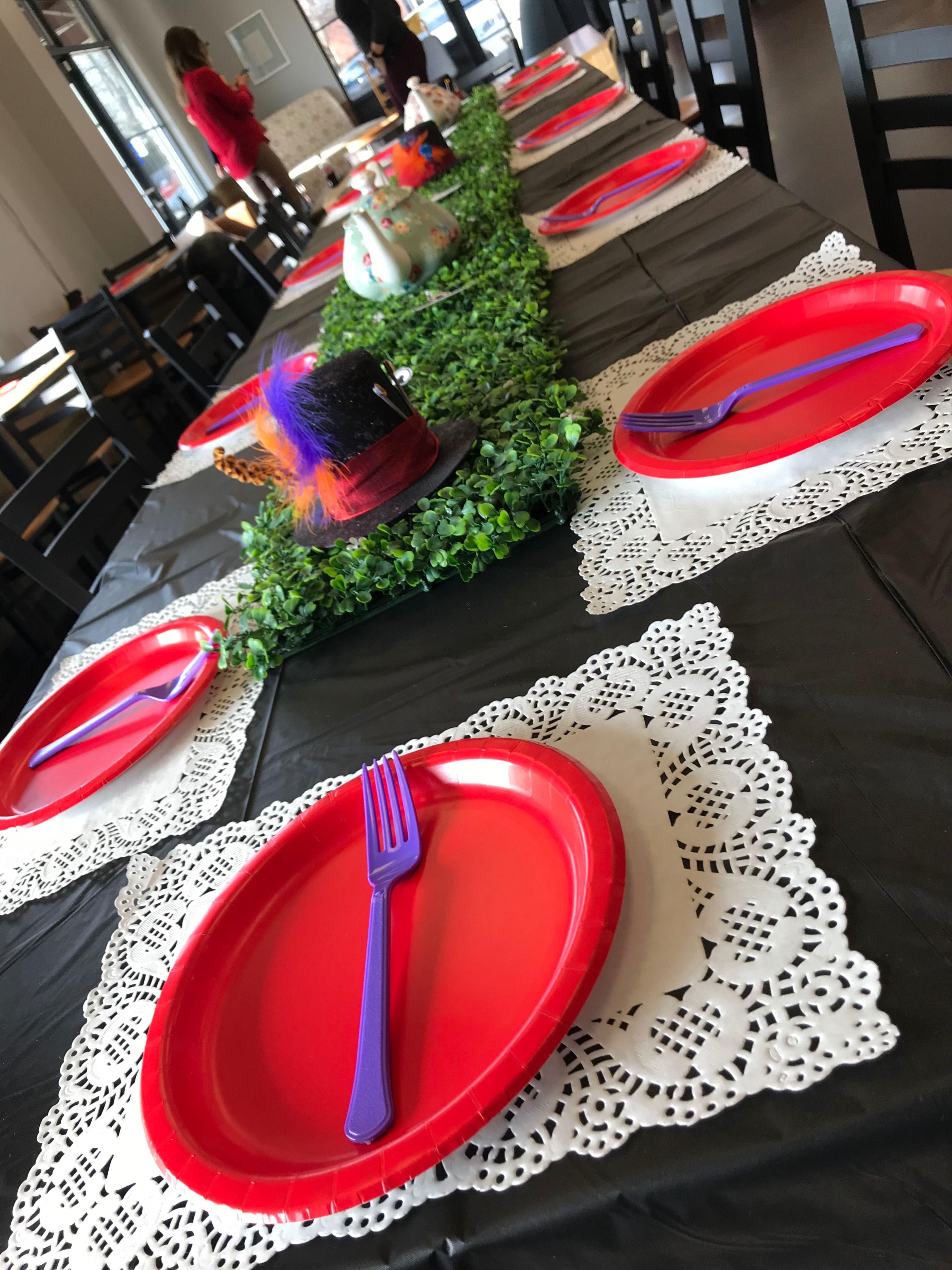 Alice in wonderland tablescape birthday party venues