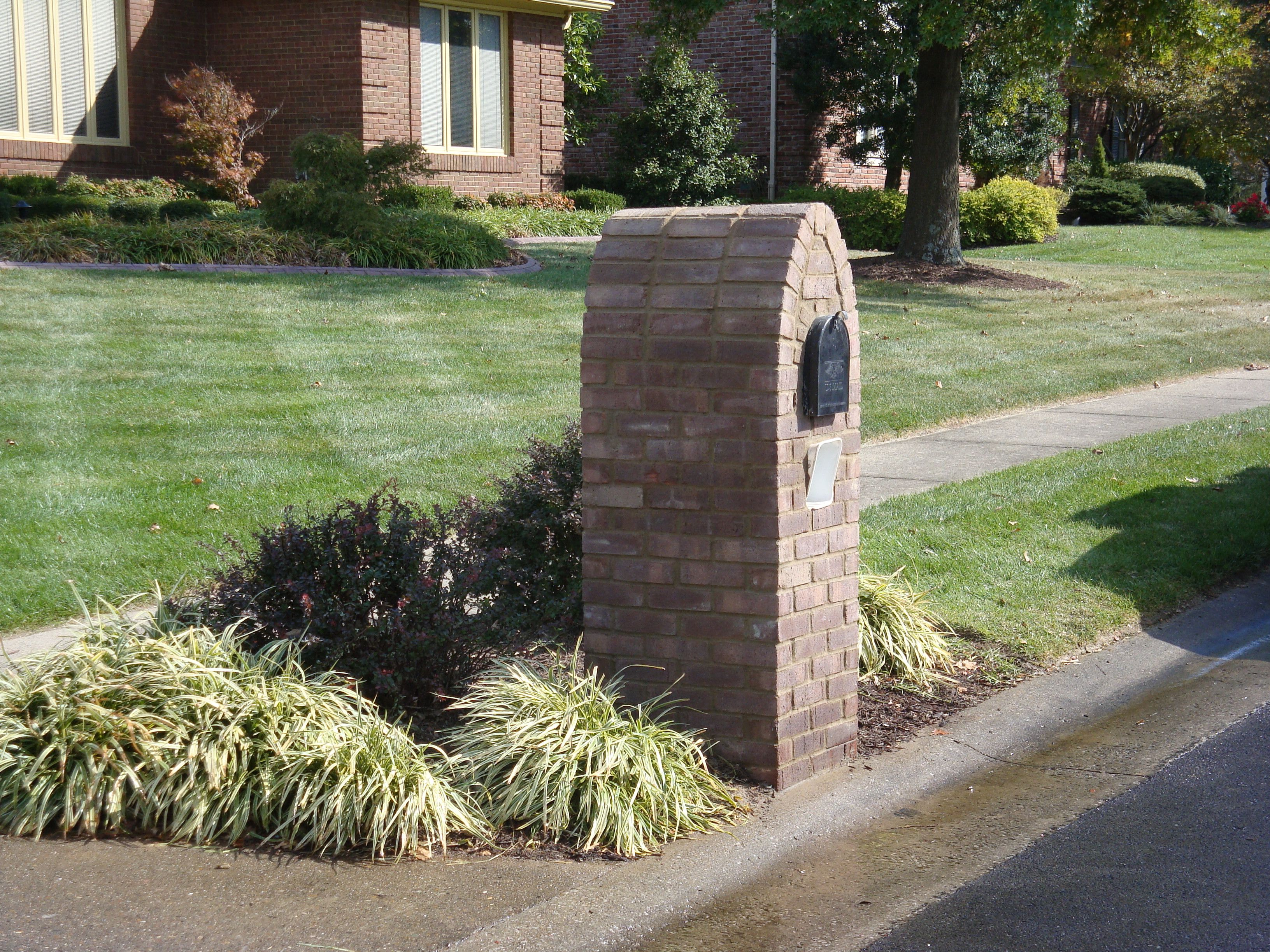 stone . mailbox landscaping